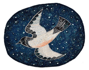 'ON THE WING - STORM PETREL' textile print