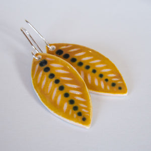 Honey Yellow Leaf Drop Earrings