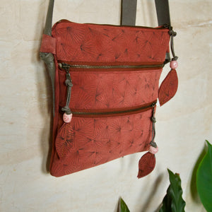 SUEDE SATCHEL - FAN PRINT