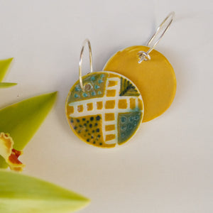 Disc Earrings - Ochre Yellow