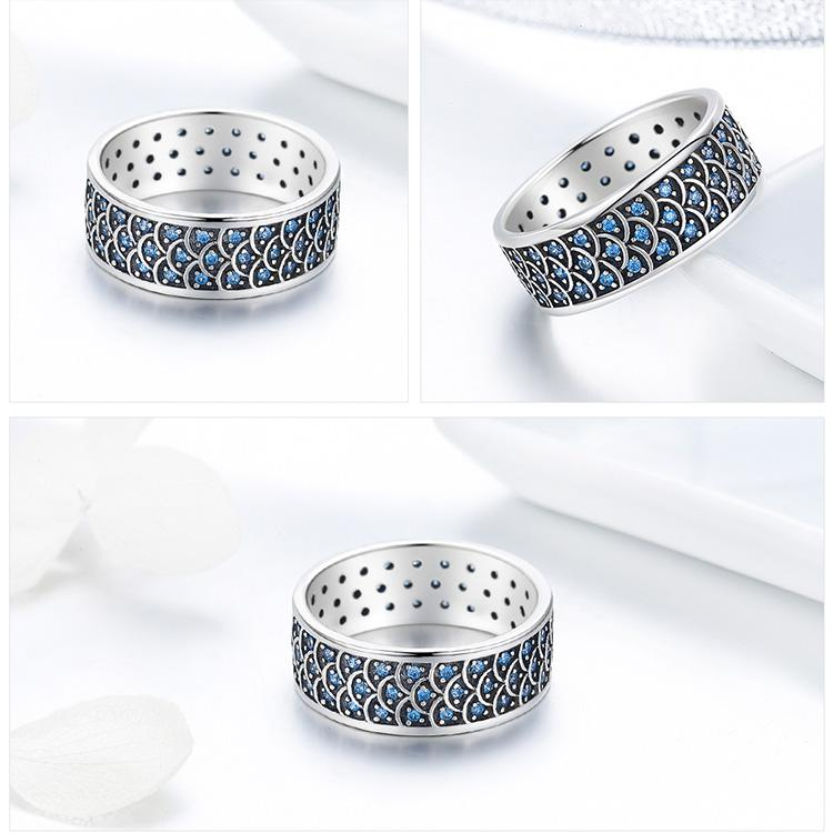 ❤️Sterling Silver Ocean Ring Made For Wearing Round Cocktail Finger for Women❤️