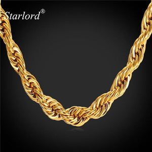 Starlord Rope Chain Necklace For Men Stainless Steel/Black Gun/Gold Color 9MM Dookie Rope Necklace GN2179