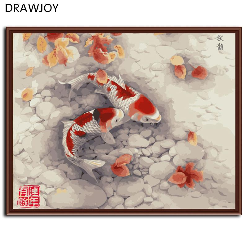 DRAWJOY Red Fish Framed Picture Painting & Calligraphy DIY Painting By Numbers Coloring By Numbers G324 40*50cm
