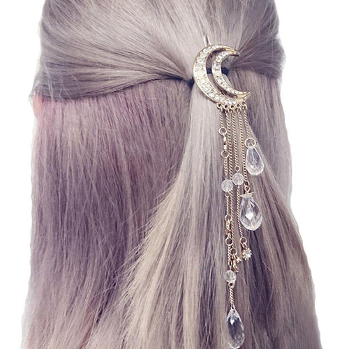 Haimeikang Exquisite Gold/Silver/Rose Gold Color Crystal Moon Hair Clip