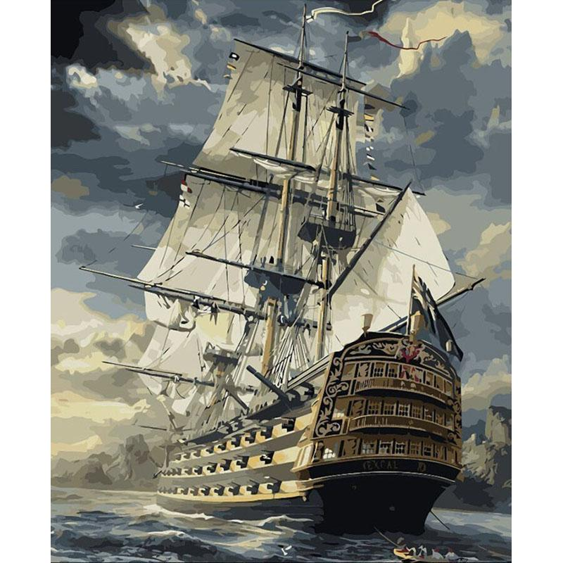 Artsailing Pictures by Numbers Ship On The Sea Scenery Paintings by Numbers On Canvas Poster Picture by Numbers diy kit NP-002