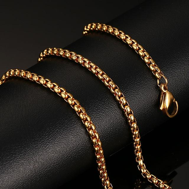 Meaeguet 20inch Gold-color Stainless Steel Chain Necklace For Men Women Snake/Box/Hanging/Curb/Flat/Twist Chain Wide 3mm/6mm