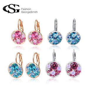 GS 2018 New High Quality 4 Colors Round Stone AAA Zircon Flower Stud Earrings for Women Charm Crystal Wedding Earring Jewelry G7