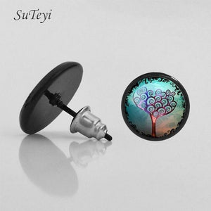 Plant Life Tree Picture Glass Cabochon  Earrings