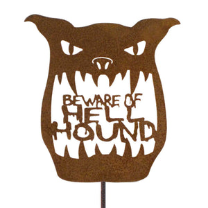 Beware Of Hell Hound Garden Stick Sign