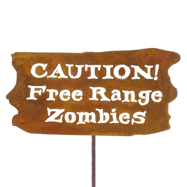 Caution Free Range Zombies Garden Stick Sign