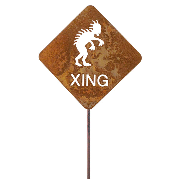Chupacabra XING Garden Stick Sign