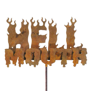 Hell Mouth Garden Stick Sign