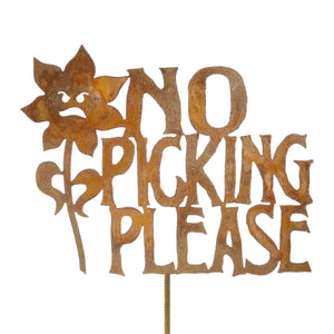No Picking The Flowers Garden Stick Sign