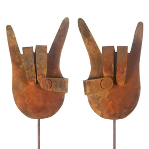 Rock On Hands (Set of 2) Garden Stick Sign