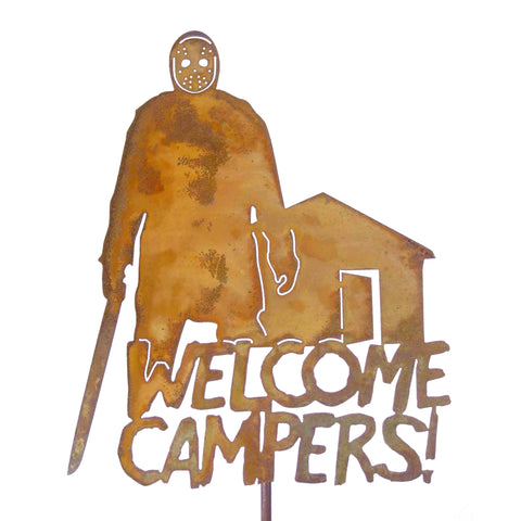 Welcome Campers Garden Stick Sign