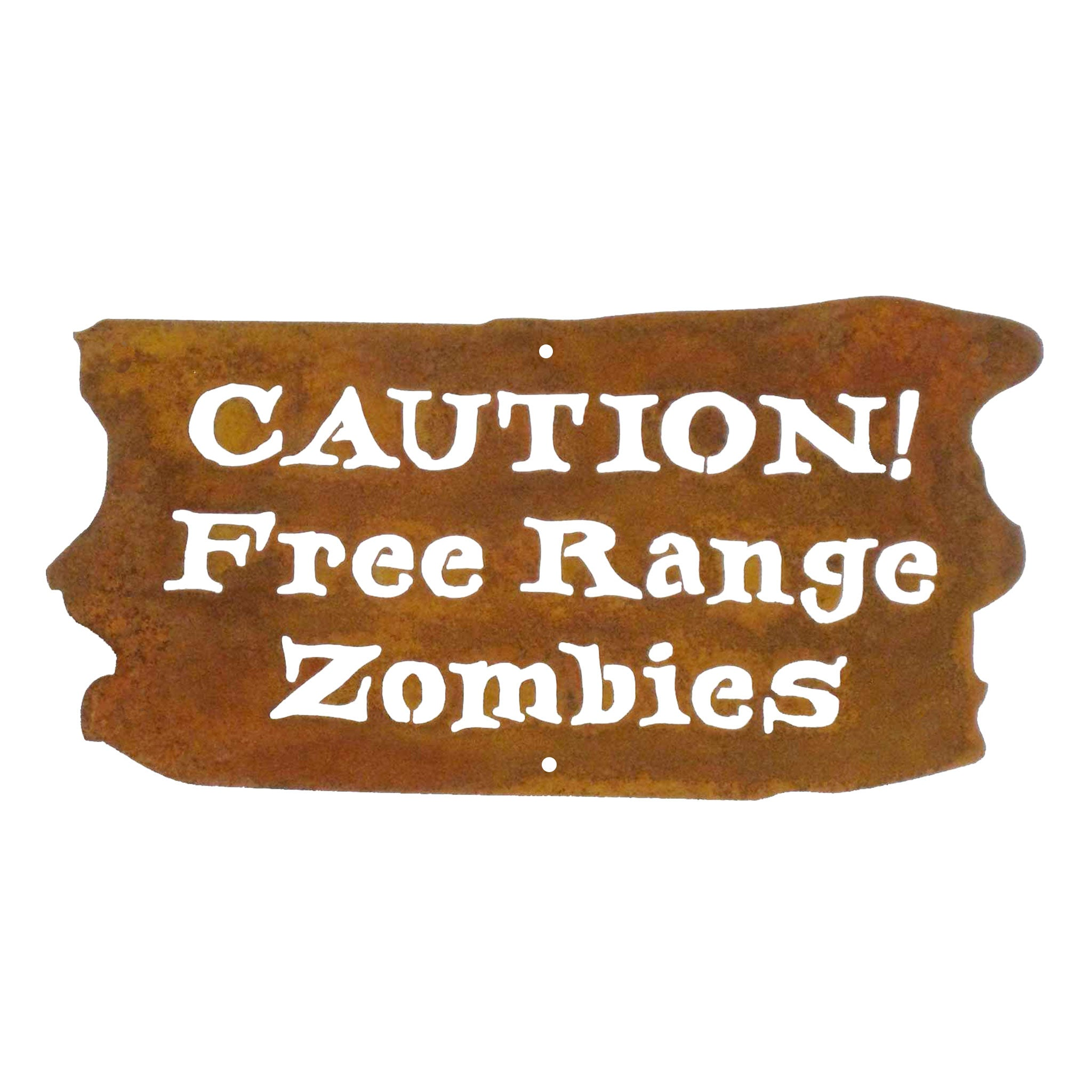 Caution Free Range Zombies Wall Mount Sign