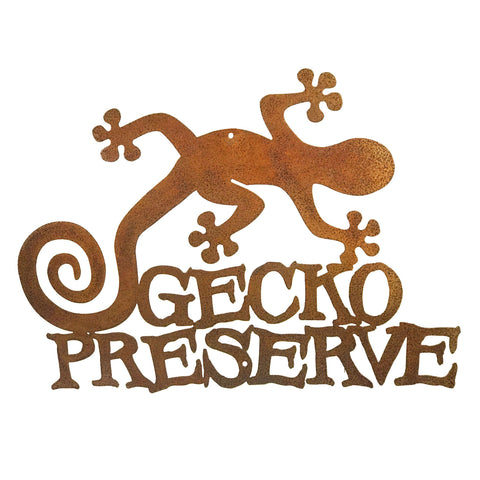 Gecko Preserve Wall Mount Sign
