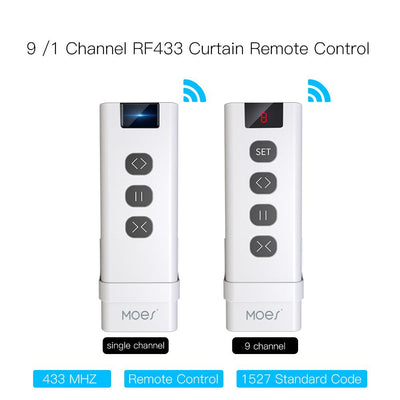 9 /1 Channel RF433 Remote Controller For Controlling WiFi Curtain Switch RF Roller Blinds Module Battery Powered Curtain Accessories Emitter - Moes