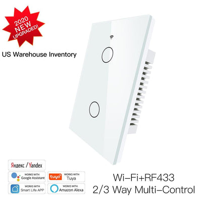 New Smart Glass Panel Switch Smart Life/Tuya App Multi-Control Association, Voice Control with Alexa,Google Home,2 Gang - Moes