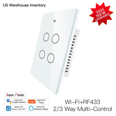 New Smart Glass Panel Switch Smart Life/Tuya App Multi-Control Association, Voice Control With Alexa,Google Home,4 Gang - Moes