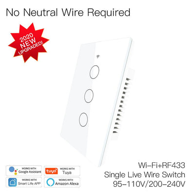 New Upgrade RF433 WiFi Wall Touch Switch No Neutral Wire Needed Wireless Smart Life/Tuya App Remote Control Works with Alexa Google Home 110V/220V 3 Gang White - Moes