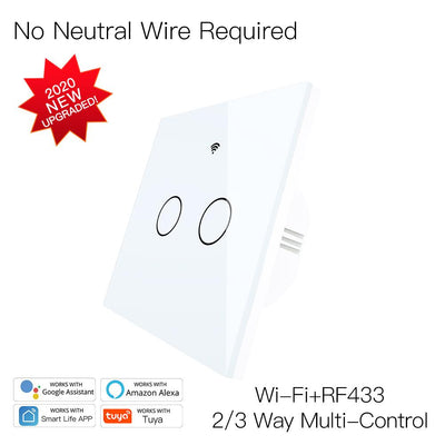 New Upgrade RF433 WiFi Wall Touch Switch No Neutral Wire Needed Wireless Smart Life/Tuya App Remote Control Works with Alexa Google Home EU 2 Gang White - Moes