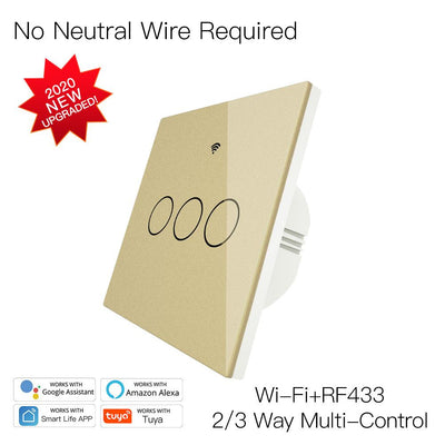 New Upgrade RF433 WiFi Wall Touch Switch No Neutral Wire Needed Wireless Smart Life/Tuya App Remote Control Works with Alexa Google Home EU 3 Gang Gold - Moes