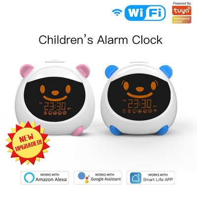 New Upgraded Kids' Alarm Clock and Smart Sleep Study Trainer with Night Lights Sounds and Expressions - Moes