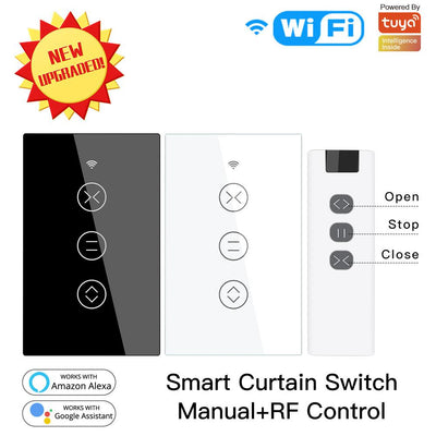RF WiFi Smart Touch Curtain Blinds Roller Shutter Switch US - Moes