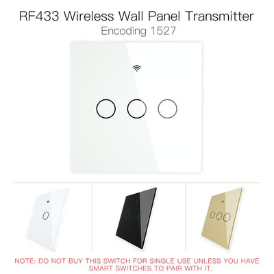 RF433 MHz Wireless Wall Glass Panel Transmitter Switch 1/2/3 Gang - Moes