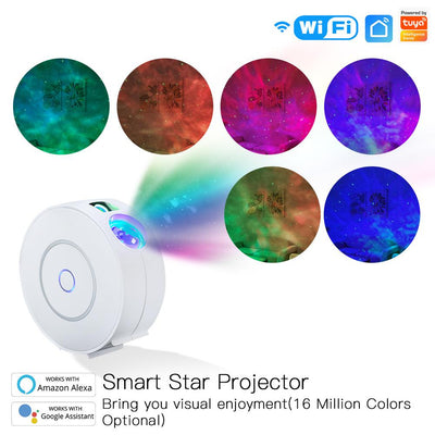 Smart Star Projector with Galaxy Nebula Cloud/Moving Ocean Wave Star Sky WiFi Night Light Projector Alexa Google Home Tuya Smart App Compatible - Moes