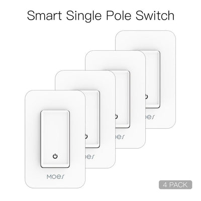 Snow Rock Series New WiFi Single Pole Smart Light Switch US Version 4 PACK - Moes