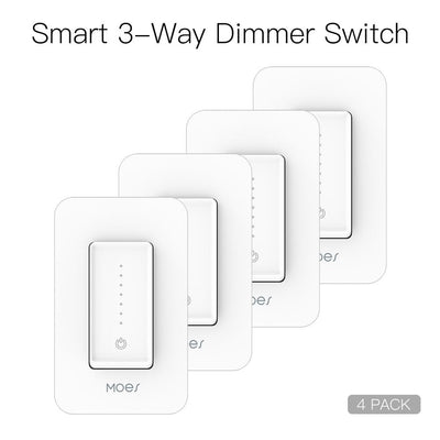 Snow Rock Series Single Pole/3 Way Smart Dimmer Switch Replace One Switch Only to Multi-control 4 PACK - Moes