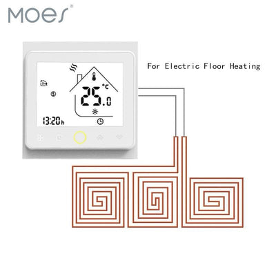 Thermostat Temperature Controller LCD Touch Screen Backlight for Electric Heating 16A Weekly Programmable - Moes