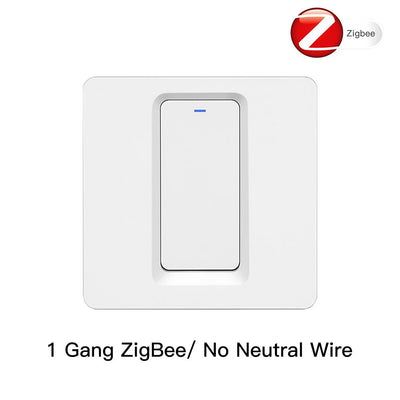 Tuya Zigbee Smart Switch EU UK Push Button Wall Light Switch 2MQTT Setup No Neutral Wire 1 Gang - Moes