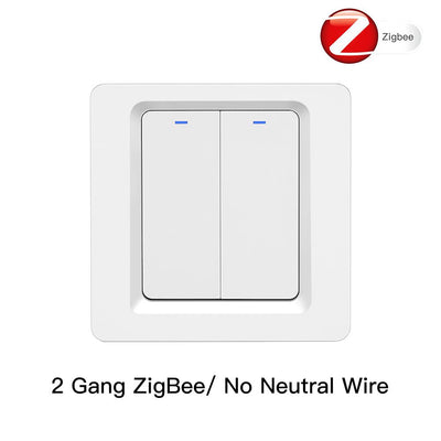 Tuya Zigbee Smart Switch EU UK Push Button Wall Light Switch 2MQTT Setup No Neutral Wire 2 Gang - Moes