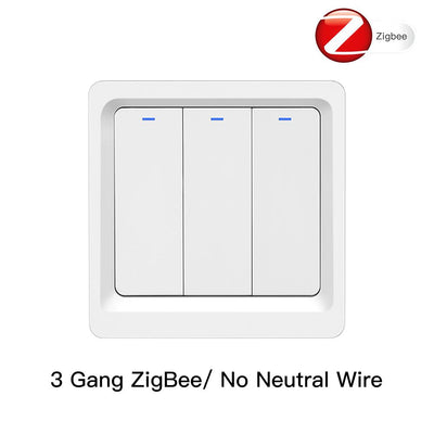 Tuya Zigbee Smart Switch EU UK Push Button Wall Light Switch 2MQTT Setup No Neutral Wire 3 Gang - Moes