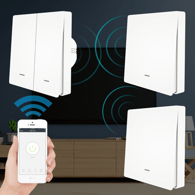 WiFi Smart Wall Light Switch with RF433 2-way Multi-control Push Button Transmitter Switch - Moes
