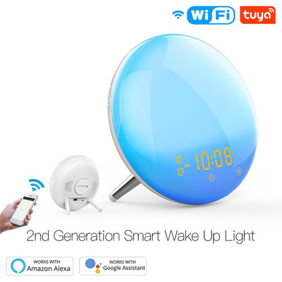 WiFi Wake Up Smart Light Alarm Clock with 7 Colors Sunrise Sunset Simulation - Moes