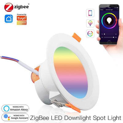 ZigBee Smart LED Downlight Smart LED Dimming Round Recessed Spot Light 7W 10W RGB 2700K-6500K W + C light Compatible with Philips Hue SmartThings - Moes