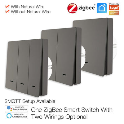 ZigBee Smart Wall Light Switch with Neutral Wire or No Neutral Wire Wiring No Capacitor Needed Smart Life/Tuya 2/3 Way Muilti-Control Association Works with Alexa,Google Home Hub Required Gray - Moes