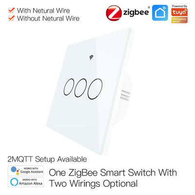 ZigBee Wall Touch Smart Light Switch With Neutral Wire/No Neutral Wire,No Capacitor Needed 2 Way Muilti-Control Association Hub Required 3 Gang White - Moes