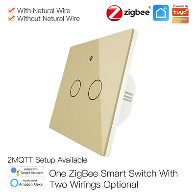 ZigBee Wall Touch Smart Light Switch With Neutral Wire/No Neutral Wire,No Capacitor Needed Smart Life/Tuya 2/3 Way Muilti-Control Association Hub Required 2 Gang Gold - Moes