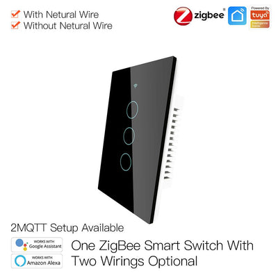ZigBee Wall Touch Smart Light Switch With Neutral Wire/No Neutral Wire,No Capacitor Needed Smart Life/Tuya 2/3 Way Muilti-Control Association Hub Required 3 Gang Black - Moes