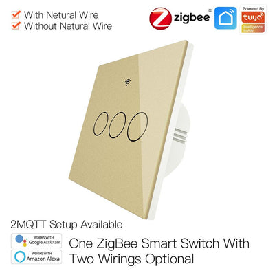 ZigBee Wall Touch Smart Light Switch With Neutral Wire/No Neutral Wire,No Capacitor Needed Smart Life/Tuya 2/3 Way Muilti-Control Association Hub Required 3 Gang Gold - Moes