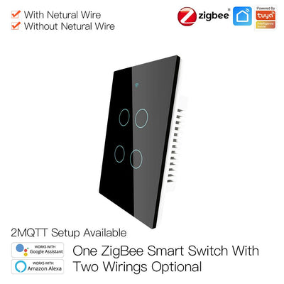 ZigBee Wall Touch Smart Light Switch With Neutral Wire/No Neutral Wire,No Capacitor Needed Smart Life/Tuya 2/3 Way Muilti-Control Association Hub Required 4 Gang Black - Moes