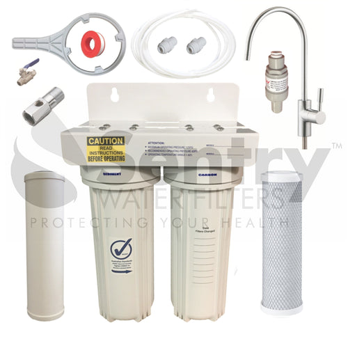 Dual Under Sink Chemical Water Filter | Twin Undersink Drinking Water Filters Chlorine