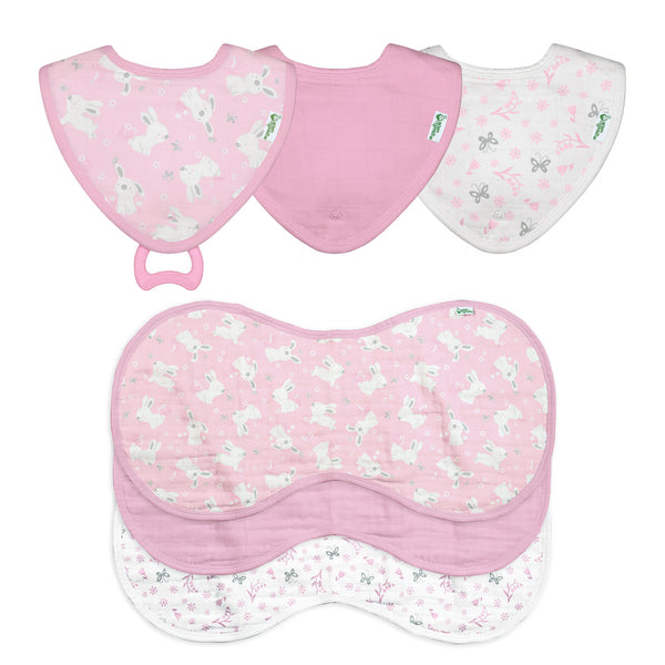 Muslin Stay-dry Teether Bibs & Burp Cloths Set made from Organic Cotton (6 pieces)
