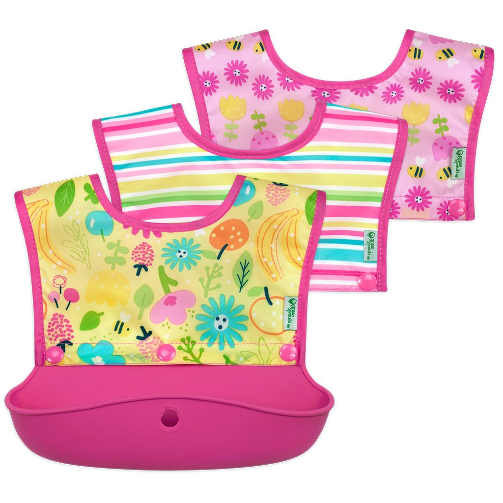 Blue or Green N Pink Food Grade Silicone Plastic Catch All Bib