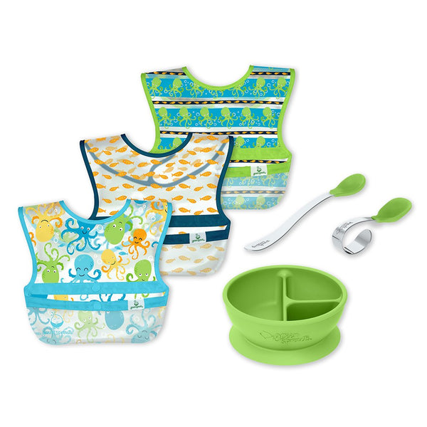 Baby Mealtime Learning Set with the three green patterned wipe-off bibs, green learning bowl with suction base, and the green learning spoon set.